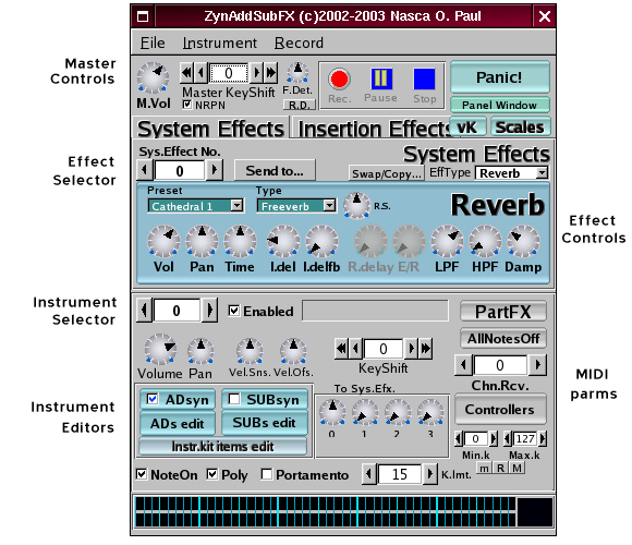ZynAddSubFx panel with annotations